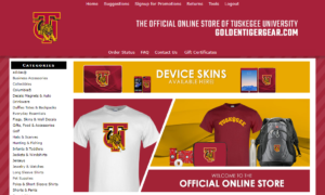 Screenshot of apparel and fan gear sales online store