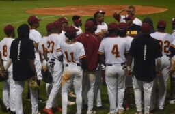 TU baseball team huddle