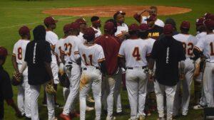 TU baseball team huddle
